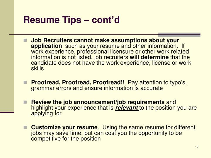 Resume Tips – cont'd
