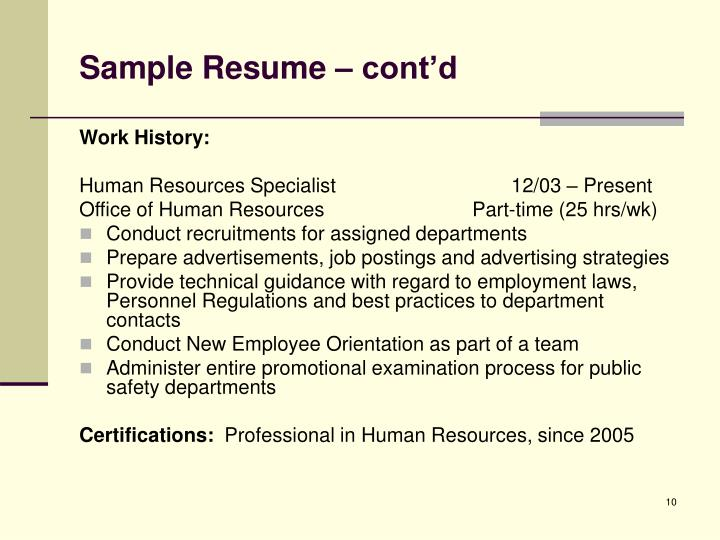 Sample Resume – cont'd