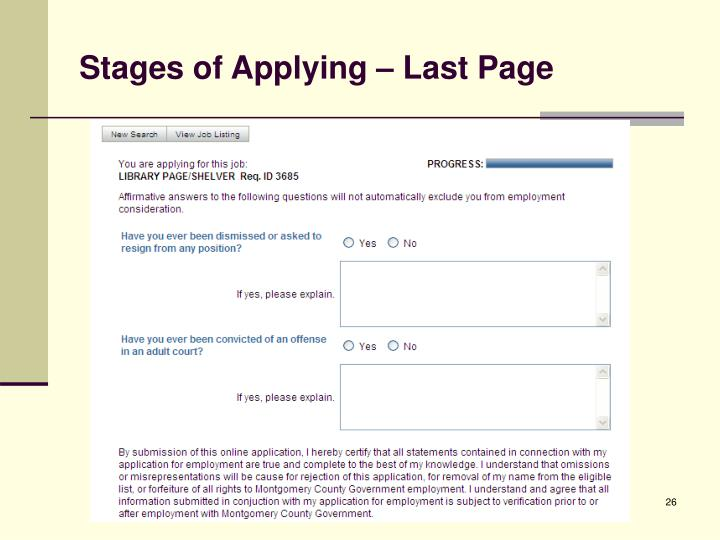 Stages of Applying – Last Page