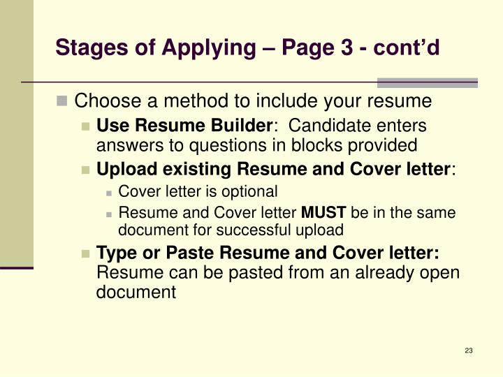 Stages of Applying – Page 3 - cont'd