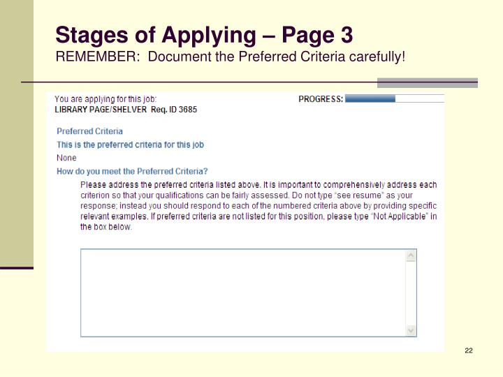 Stages of Applying – Page 3