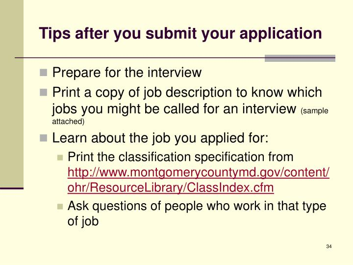 Tips after you submit your application