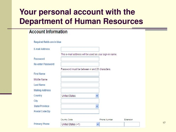 Your personal account with the Department of Human Resources