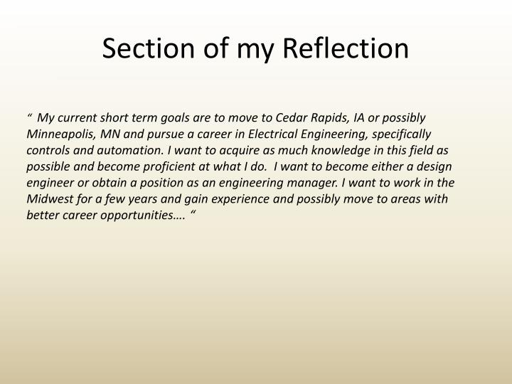 Section of my Reflection
