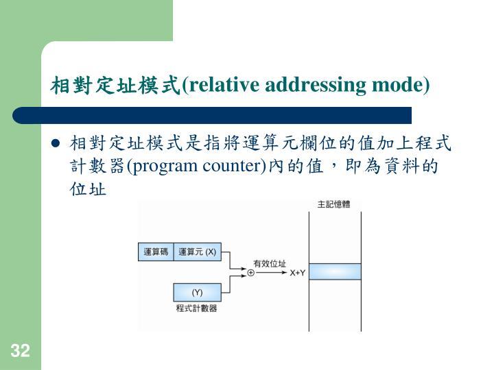 相對定址模式