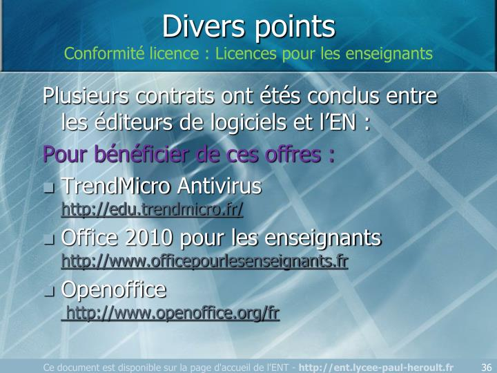 Divers points
