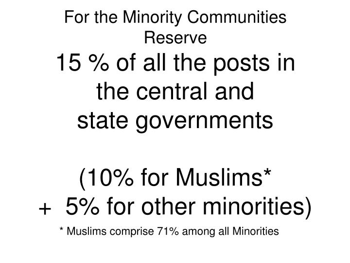 For the Minority Communities