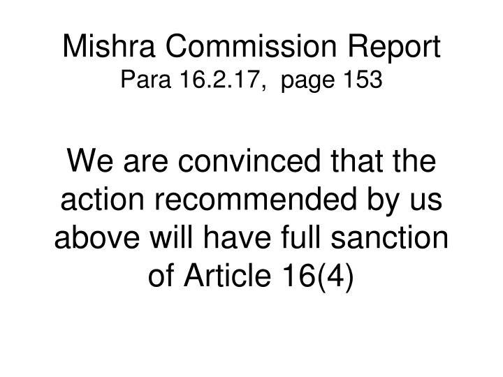 Mishra Commission Report