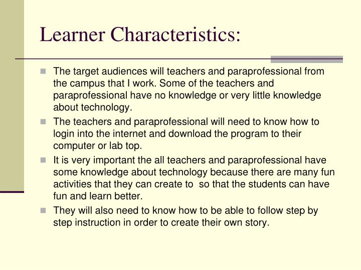 Learner Characteristics: