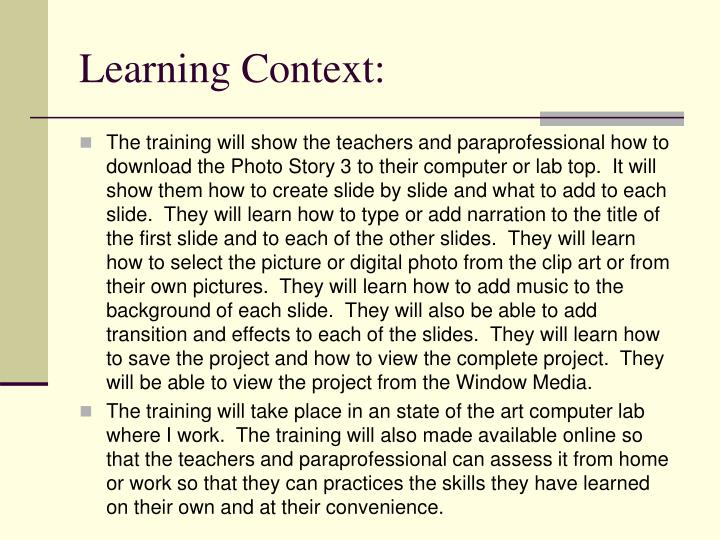 Learning Context: