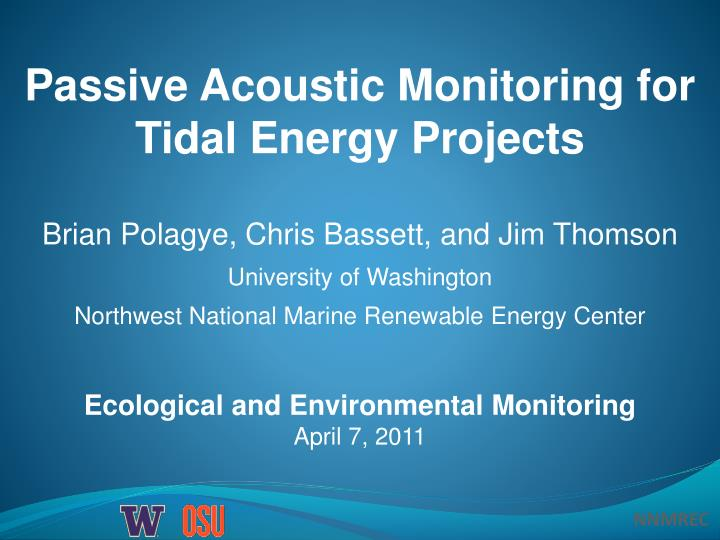 Passive Acoustic Monitoring for Tidal Energy Projects