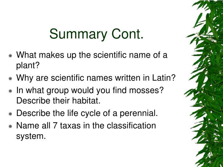 Summary Cont.