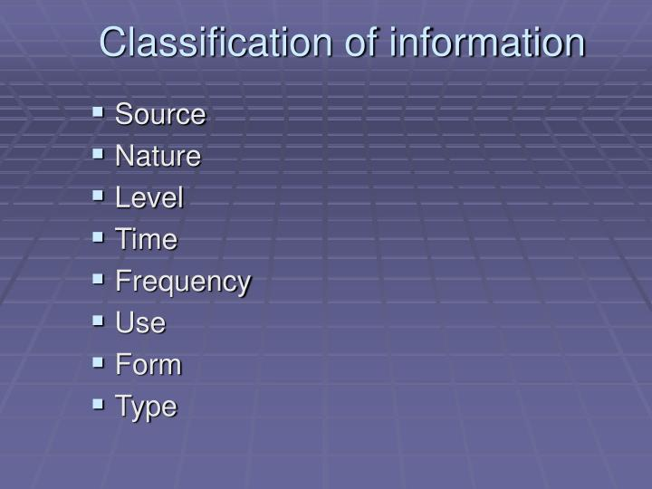 Classification of information