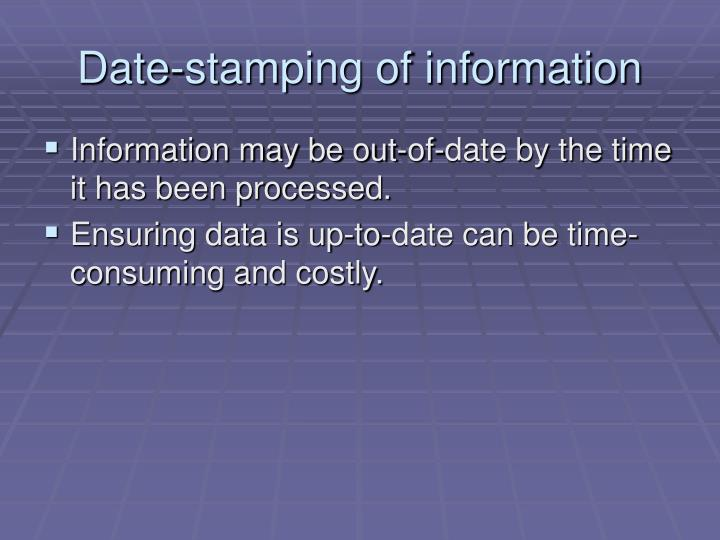 Date-stamping of information