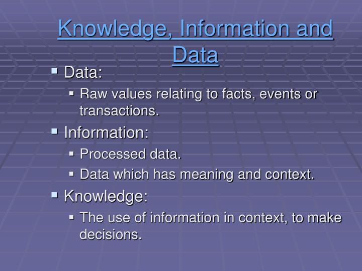 Knowledge, Information and Data
