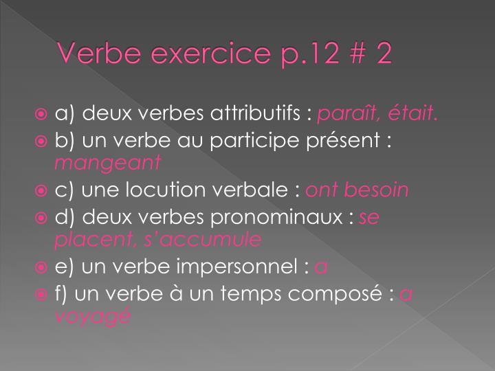 Verbe exercice p.12 # 2