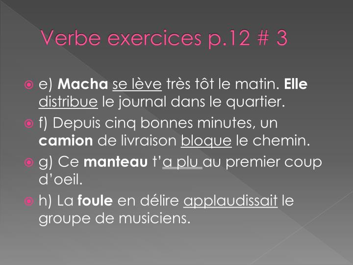 Verbe exercices p.12 # 3