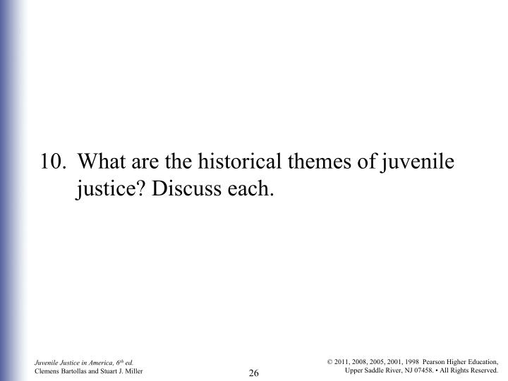 10.What are the historical themes of juvenile justice? Discuss each.