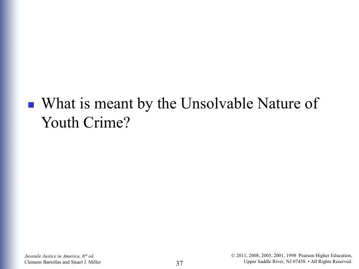 What is meant by the Unsolvable Nature of Youth Crime?