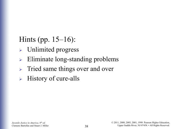 Hints (pp. 15–16):