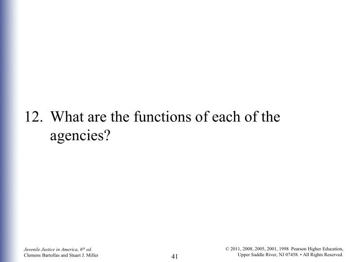 12.	What are the functions of each of the agencies?