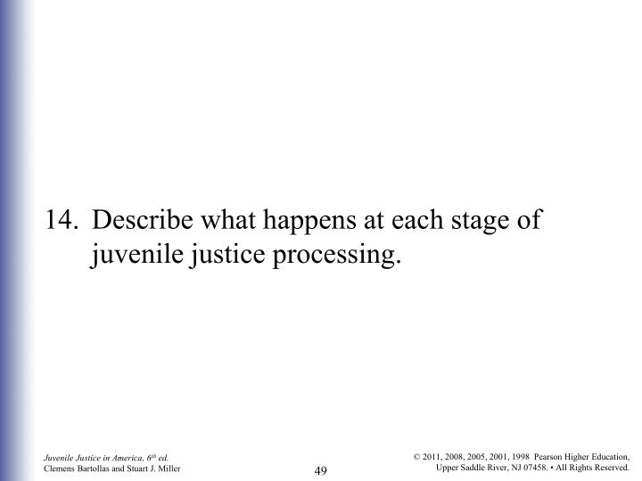 14. 	Describe what happens at each stage of juvenile justice processing.