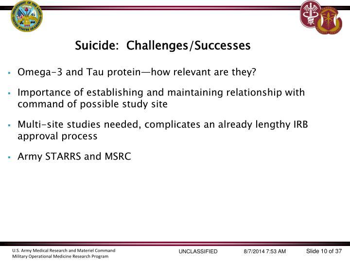 Suicide:  Challenges/Successes