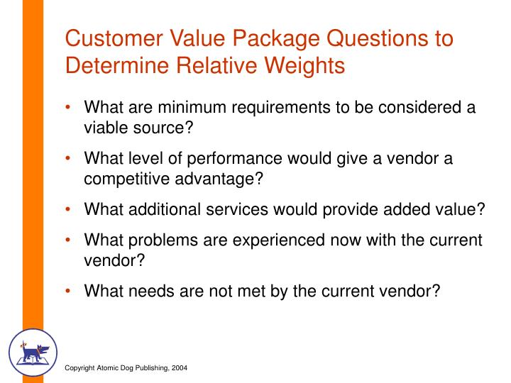 Customer Value Package Questions to Determine Relative Weights