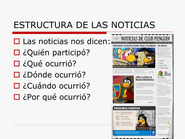 ESTRUCTURA DE LAS NOTICIAS