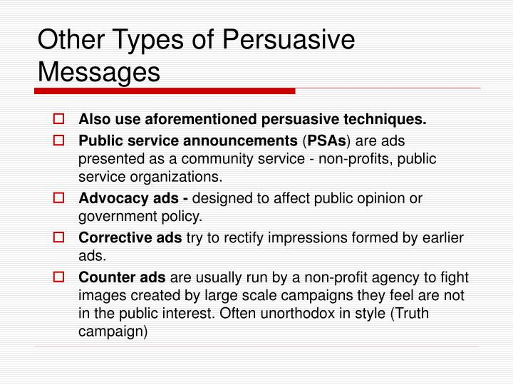 Other Types of Persuasive Messages