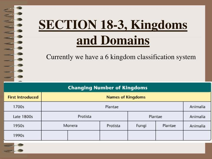 SECTION 18-3, Kingdoms and Domains