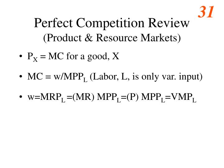 Perfect Competition Review