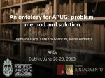 an ontology for apug problem method and solution