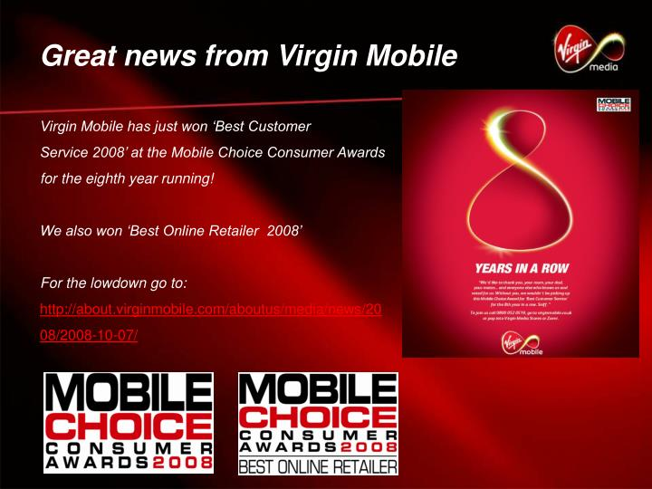 Great news from Virgin Mobile