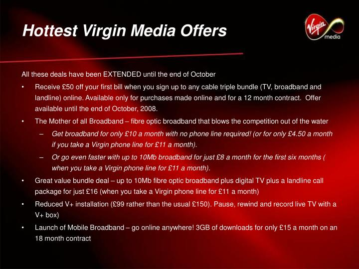 Hottest Virgin Media Offers