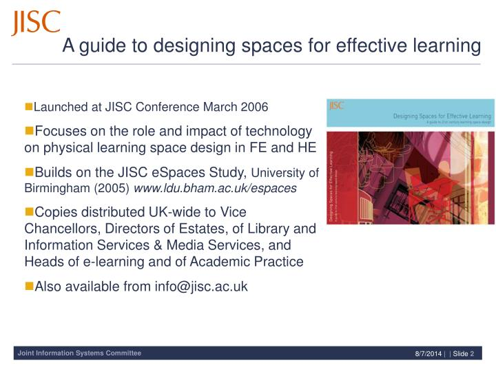 A guide to designing spaces for effective learning