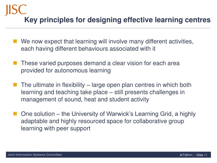 Key principles for designing effective learning centres