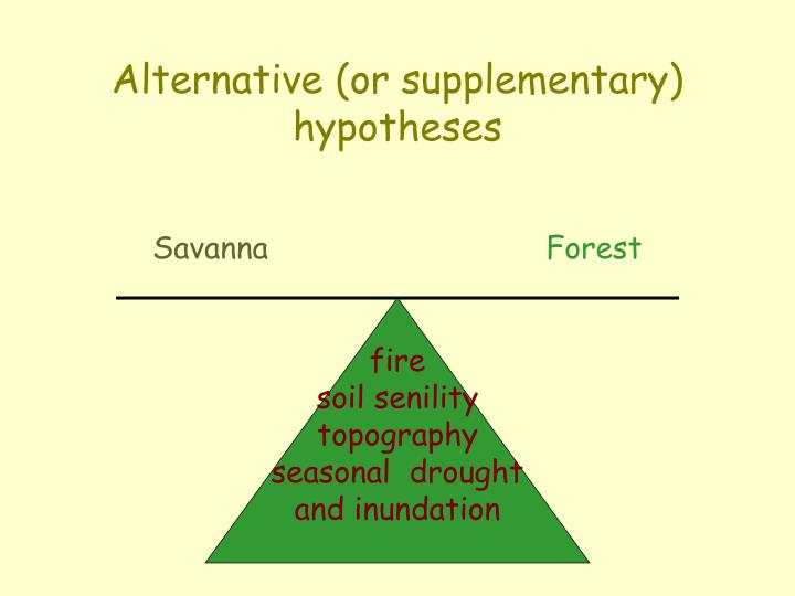 Alternative (or supplementary) hypotheses