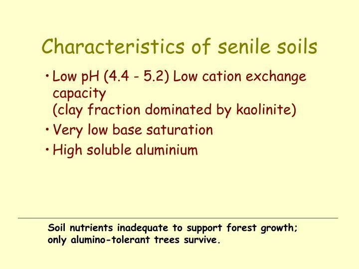 Characteristics of senile soils
