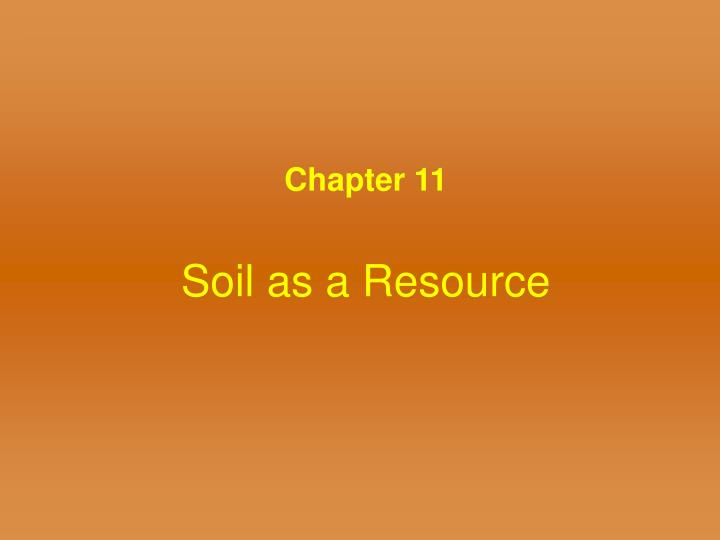 soil as a resource
