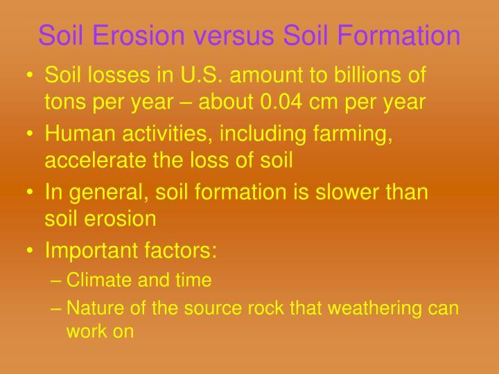 Soil Erosion versus Soil Formation