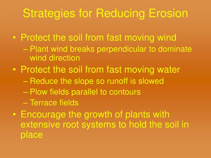 Strategies for Reducing Erosion