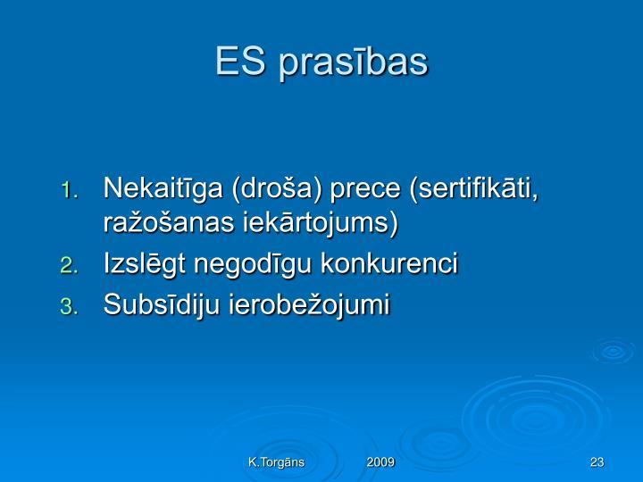 ES prasības