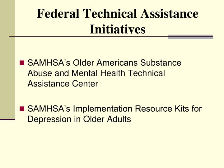 Federal Technical Assistance Initiatives