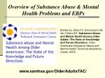 overview of substance abuse mental health problems and ebps