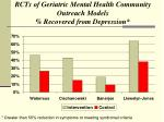 rcts of geriatric mental health community outreach models recovered from depression