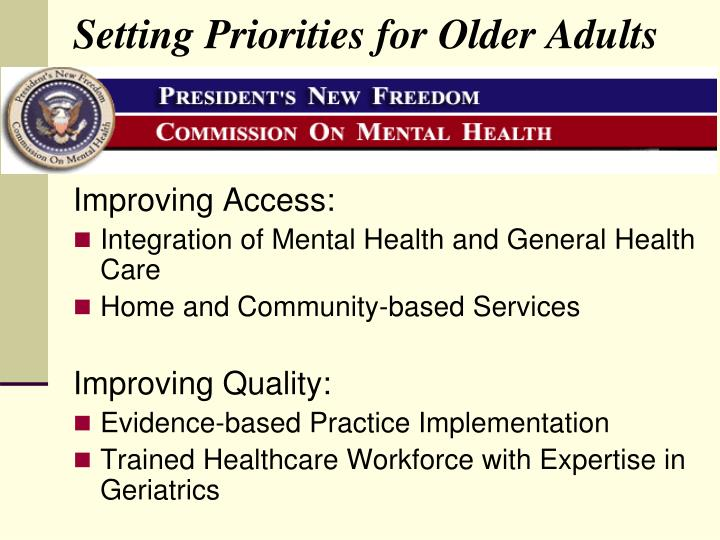 Setting Priorities for Older Adults