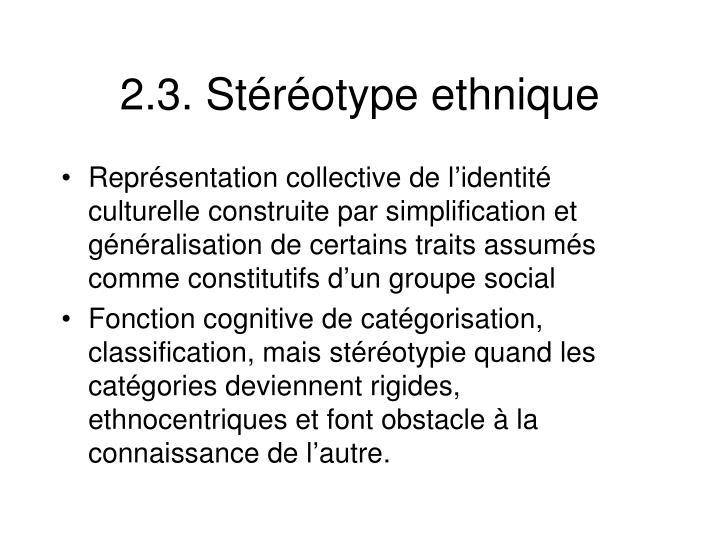 2.3. Stéréotype ethnique
