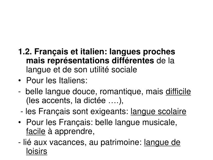 1.2. Français et italien: langues proches mais représentations différentes