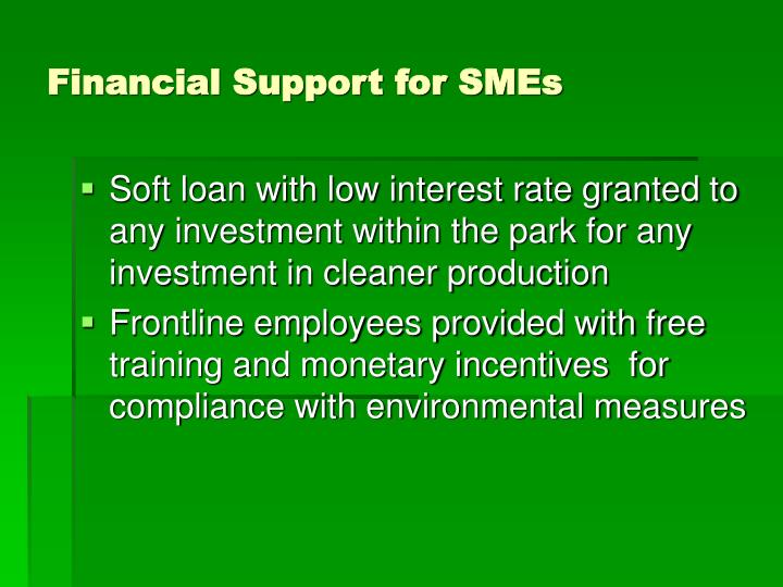 Financial Support for SMEs